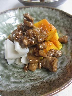20141111 かぼちゃとれんこんの肉味噌かけ