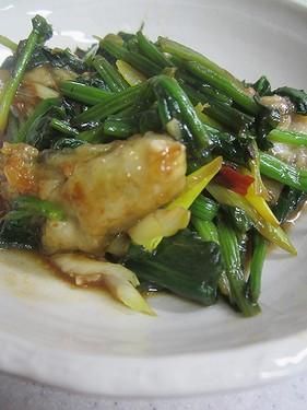 20141209 牡蠣とホウレンソウの豆鼓炒め