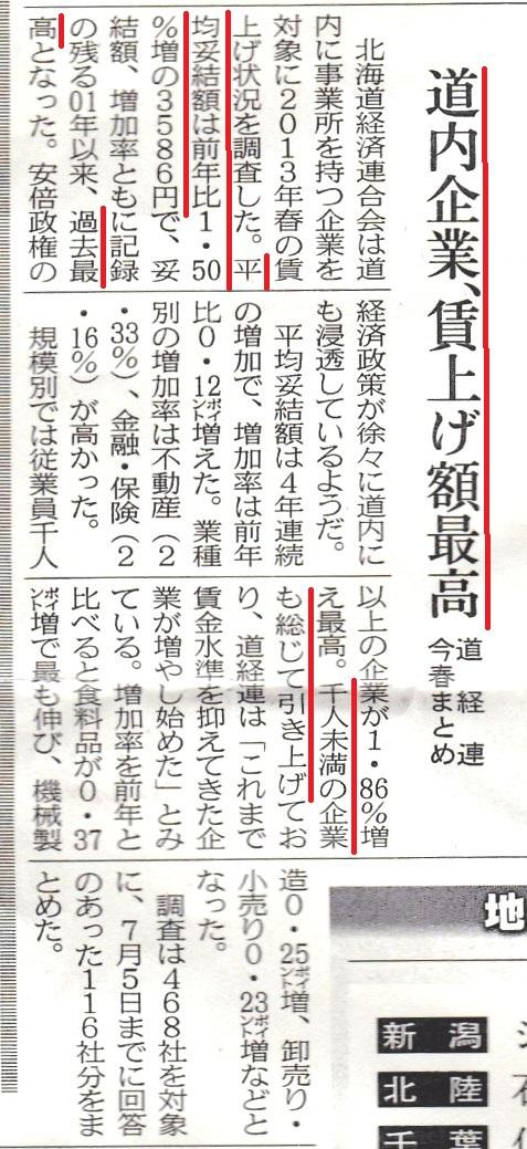 北海道 賃金増