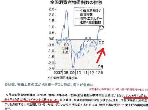 消費者物価 2013