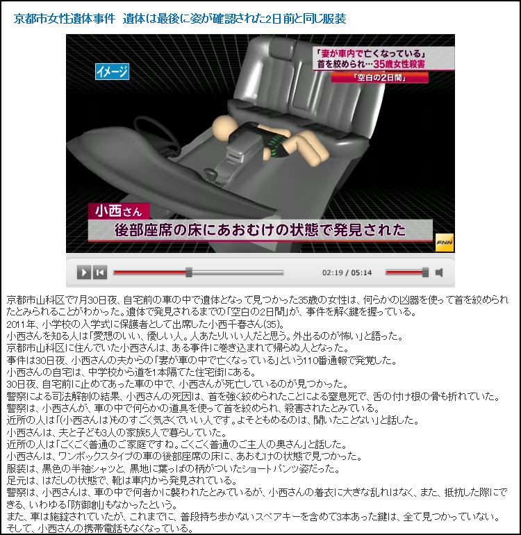 FNN ワタミの宅食 京都市 パート女性 車内で絞殺