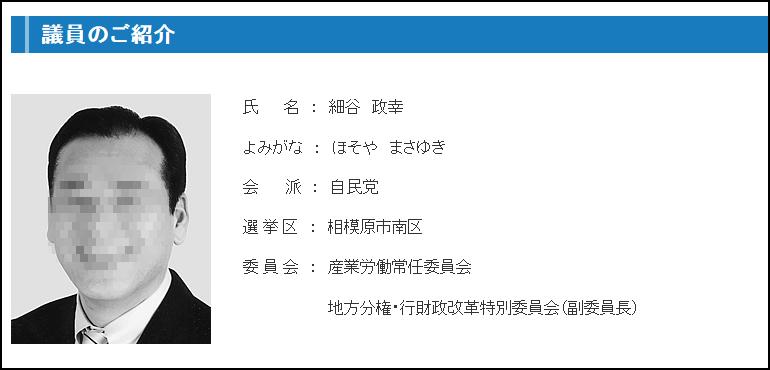 自由民主党 神奈川県議会議員 細谷正幸