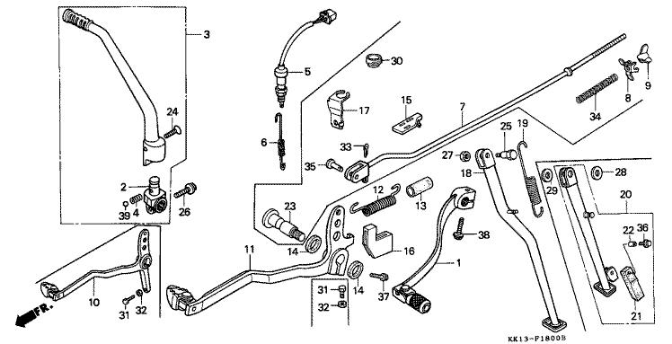 XR250RH_1987_F-18 PEDAL - KICK STARTER ARM