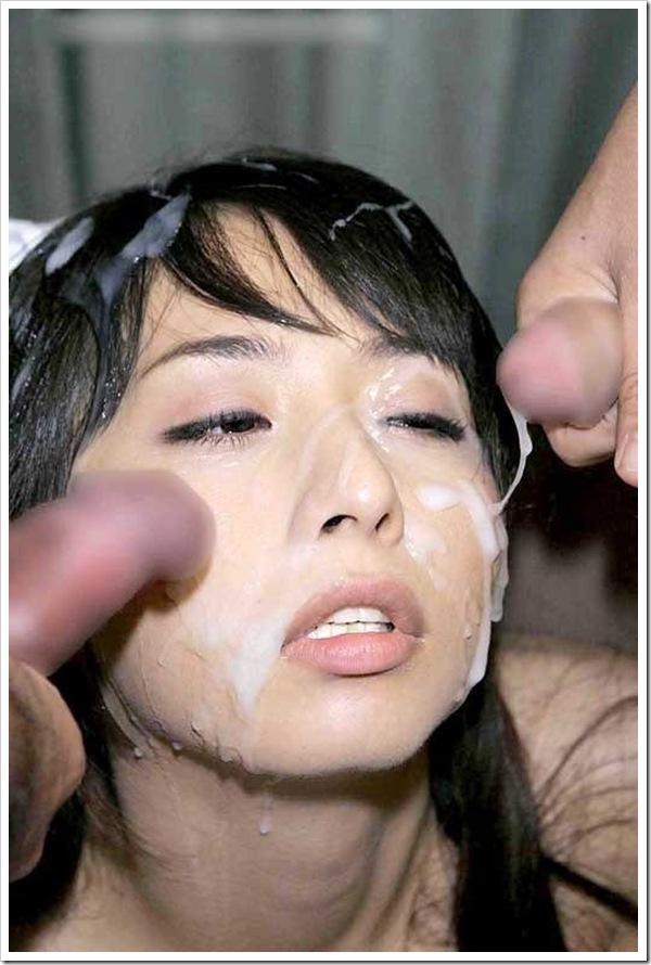 顔射】美乳おっぱいギャルの顔に精子放出