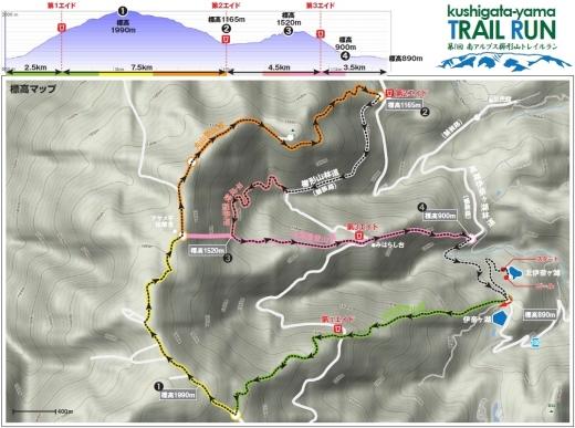 櫛形山トレイル大会コースマップ