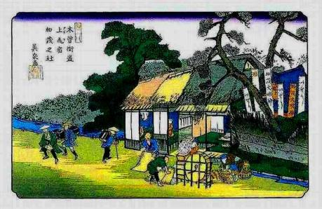 5-『木曾街道 上尾宿 加茂之社』(英泉)