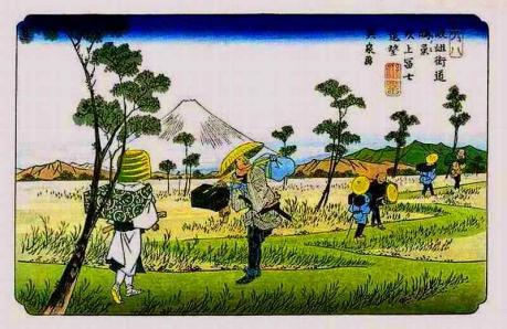7-『岐岨街道 鴻巣 吹上冨士遠望』(英泉)