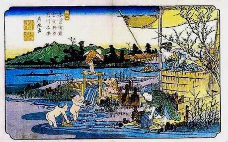 12木曾街道 倉賀野宿・烏川之図(英泉)