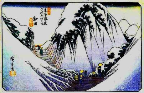 28木曾海道 六拾九次之内 和田(広重)
