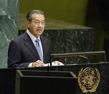 国連で演説するマハティール 03年
