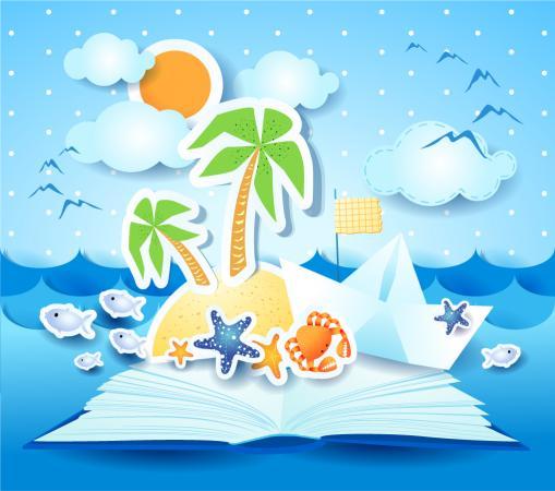 夏のビーチの切り絵 summer beach background イラスト素材