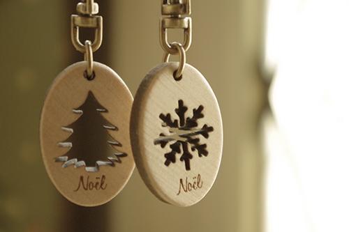 ナチュラルなクリスマス雑貨*木製キーホルダー