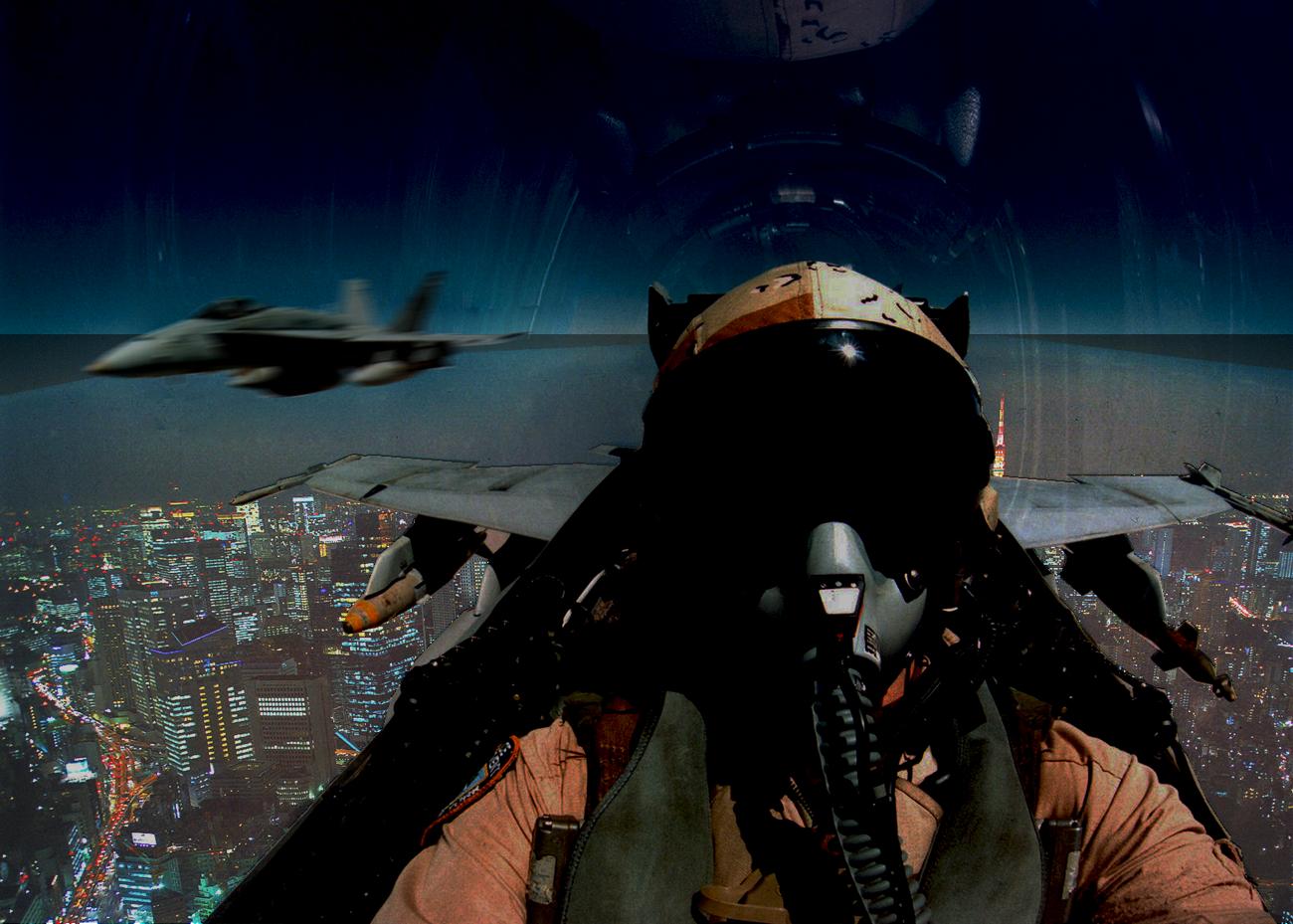 東京上空を飛ぶ在日米軍FA-18_スーパーホーネット