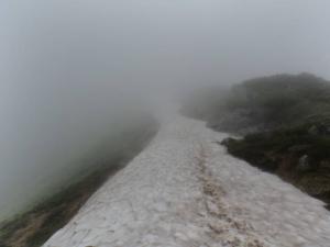 笠ヶ岳稜線雪渓1 20130728