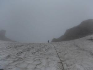 笠ヶ岳稜線雪渓3 20130728