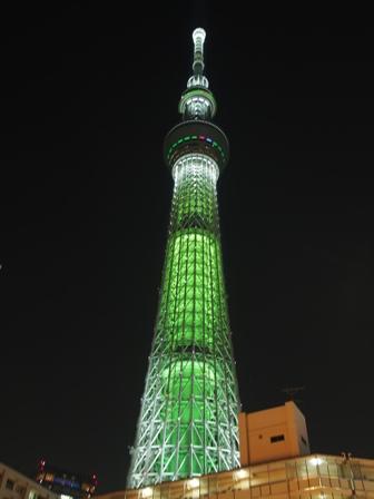 緑色のライトアップ