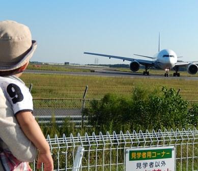 孫は飛行機に夢中