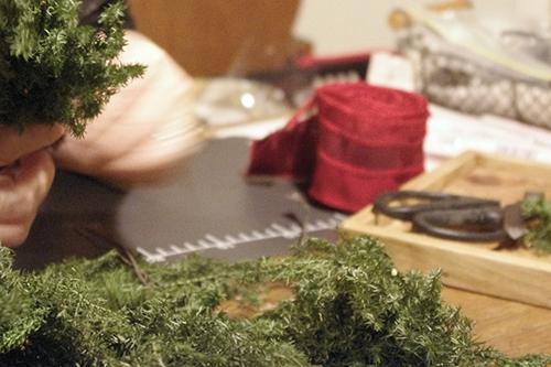 クリスマスアレンジ制作過程
