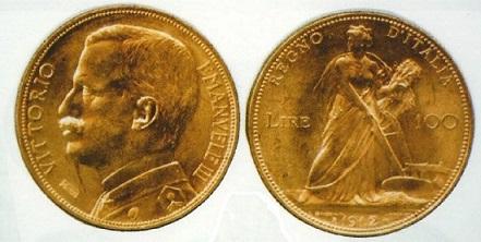 (小)インフレ2 伊100リレ金貨1912年 ヴィットリヨ・エマヌエレ3世