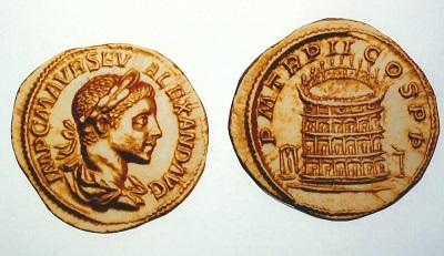 インフレヘッジ 4 ローマ帝国アウレウス金貨 アレクサンデル・セウェルス(222-235) 円形闘技場を描く