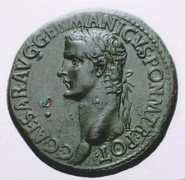 ローマ帝国初期 セステルティウス青銅貨 カリグラ帝の美しい肖像