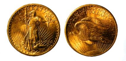アメリカ 20ドル金貨 セント=ゴーデン・タイプは準地銀タイプ