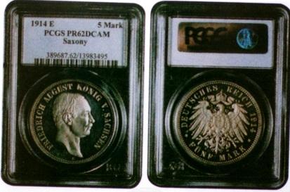 PCGSのケースに入った箱入りコイン