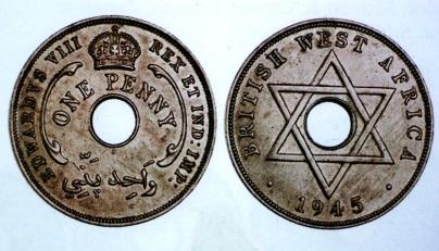 英領西アフリカ ペニー白銅貨 1945年ーH エドワード8世(1937)年の名が刻まれたミュール(雑種)コイン 現存数は12枚以下で、もしこれがアメリカ・コインなら、100万ドルの値がつくかもしれない!