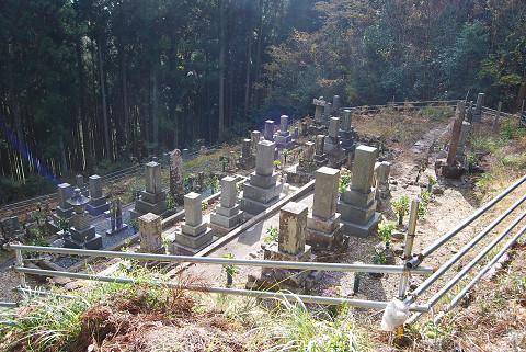 村の墓地が