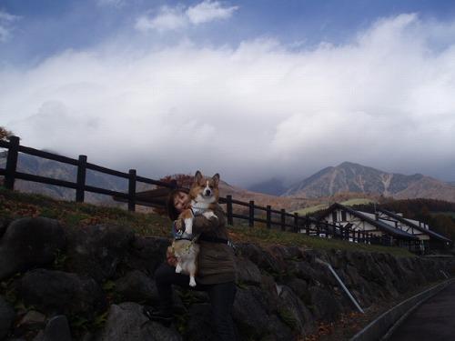 八ヶ岳と妻と息子