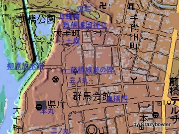 前橋城と現在(カシミール3D)