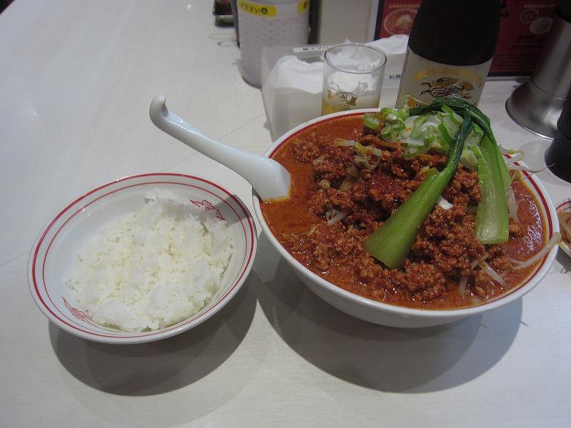中本風タンタン麺(辛さ5倍麺カタメ) 麺大盛 野菜大盛 半ライス 瓶ビール