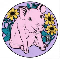 豚コースターカラー