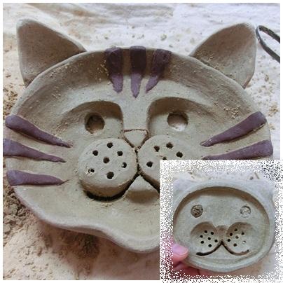 オーブン粘土猫石鹸皿