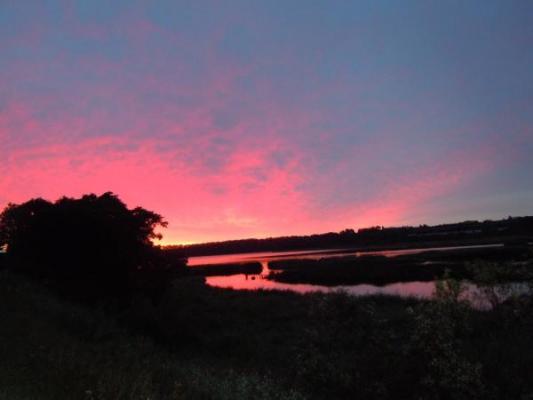 藻琴湖からの朝焼け