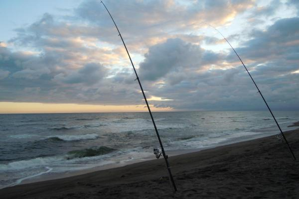 網走 秋鮭釣り