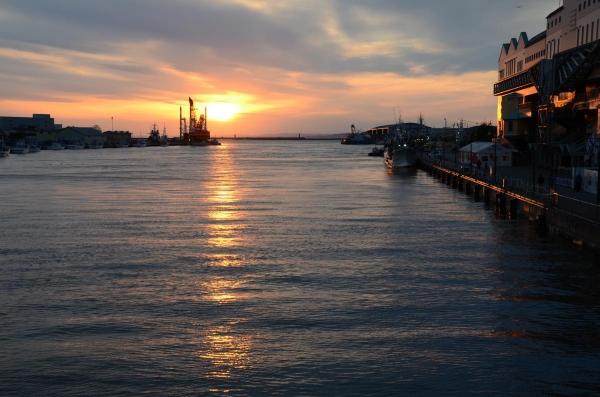 幣舞橋からの夕陽