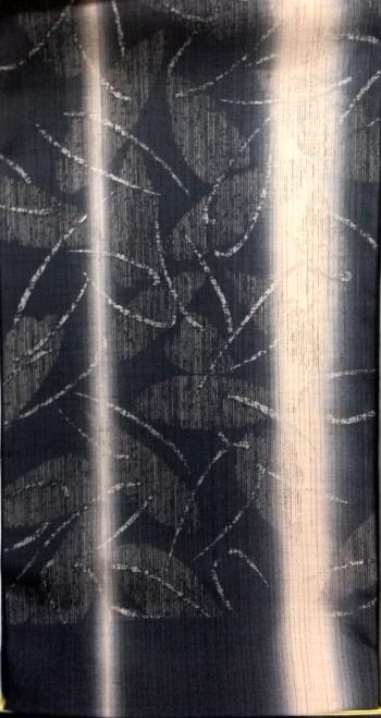 生紬 帯 黒