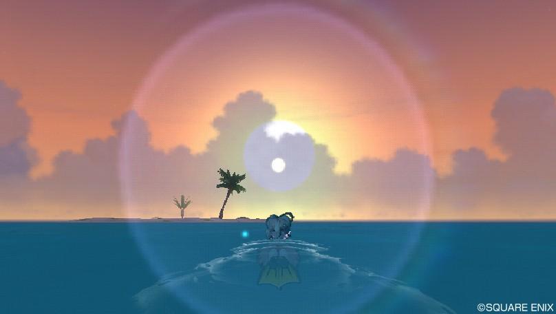 夕日に向かって泳ぐ!