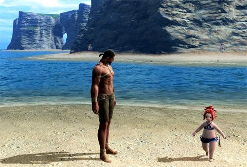 海辺のハイランダーとララ