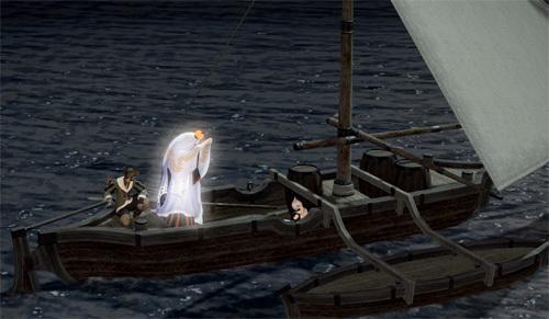 船に乗るおばけ