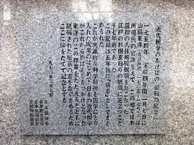 山脇東洋観臓之地碑