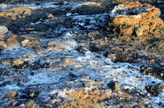 右上ボムサッグ 飛来した噴石が火山灰の表層にめり込んで出来た窪み