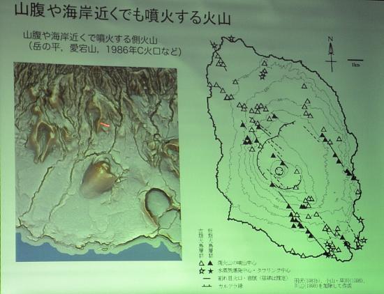 川辺先生 赤色立体地図の右下はシクボ その左上が岳ノ平