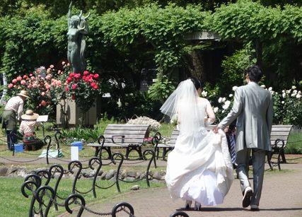 バラの公園で、結婚した二人