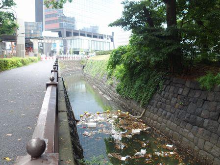 水路にゴミ