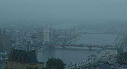 小雨の釧路市内