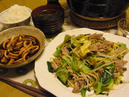 1肉野菜炒め・いかの煮物定食