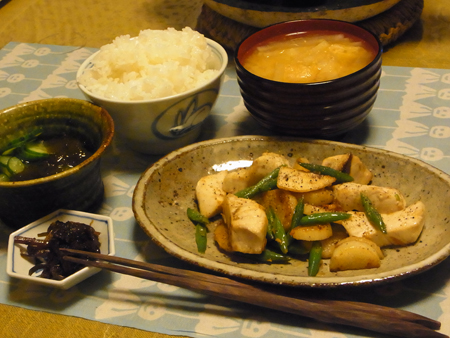 10かじきと長芋の塩コショウ炒め定食