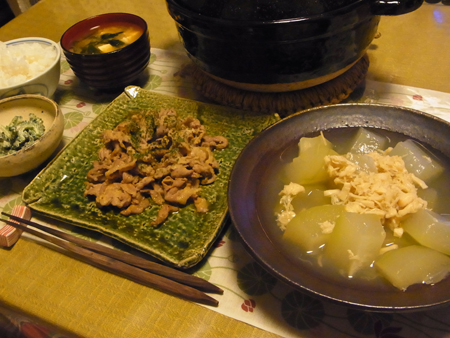 1冬瓜と帆立缶の煮物・豚肉のしそ醤油炒め定食